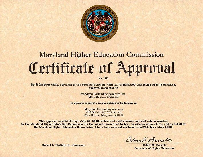 approvals_coa - Maryland Bartending Academy