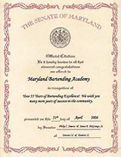 Senate of Maryland Citation